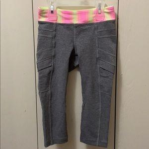 Ivivva Grey & Fluorescent Crop Exercise Pants